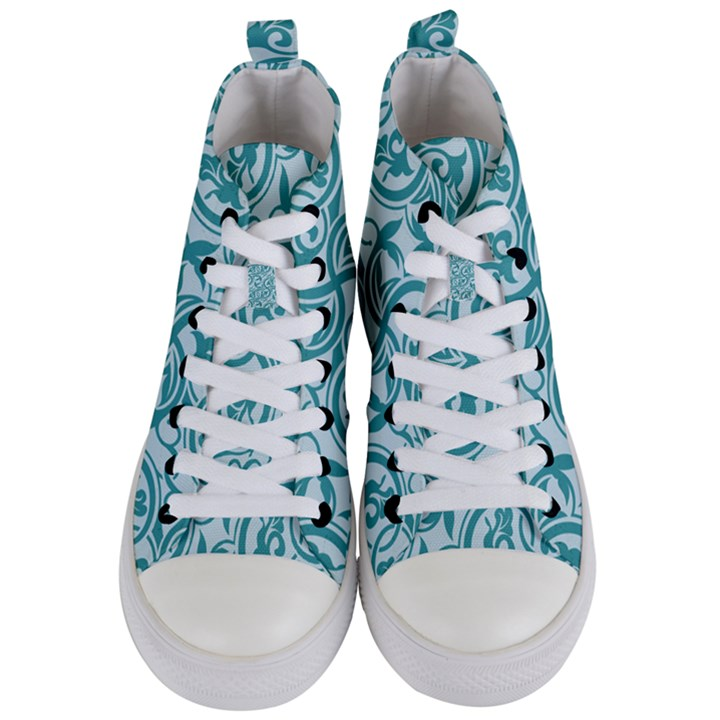 Decorative Blue Floral Pattern Women s Mid-Top Canvas Sneakers