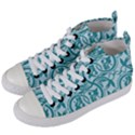 Decorative Blue Floral Pattern Women s Mid-Top Canvas Sneakers View2