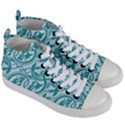 Decorative Blue Floral Pattern Women s Mid-Top Canvas Sneakers View3