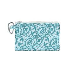 Decorative Blue Floral Pattern Canvas Cosmetic Bag (small)