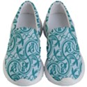 Decorative Blue Floral Pattern Kids  Lightweight Slip Ons View1