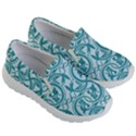 Decorative Blue Floral Pattern Kids  Lightweight Slip Ons View3