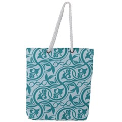 Decorative Blue Floral Pattern Full Print Rope Handle Tote (large)