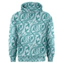 Decorative Blue Floral Pattern Men s Overhead Hoodie View1