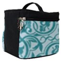 Decorative Blue Floral Pattern Make Up Travel Bag (Small) View1