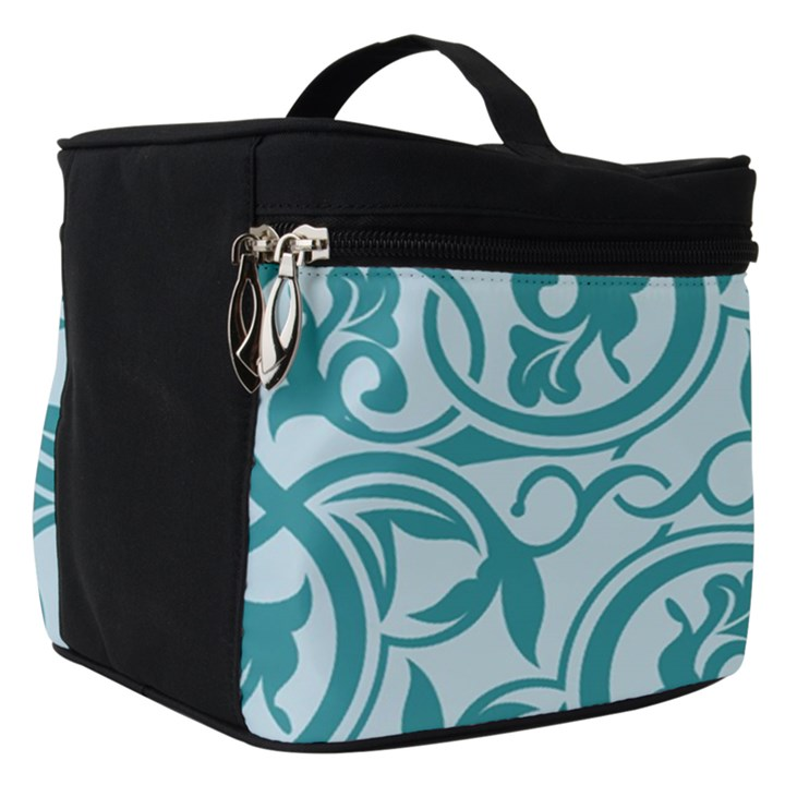 Decorative Blue Floral Pattern Make Up Travel Bag (Small)