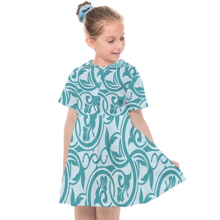 Decorative Blue Floral Pattern Kids  Sailor Dress