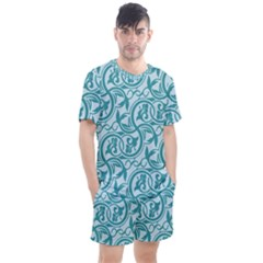 Decorative Blue Floral Pattern Men s Mesh Tee And Shorts Set