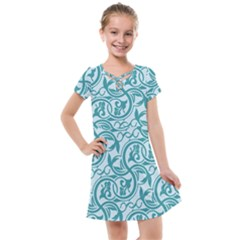 Decorative Blue Floral Pattern Kids  Cross Web Dress
