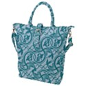 Decorative Blue Floral Pattern Buckle Top Tote Bag View1