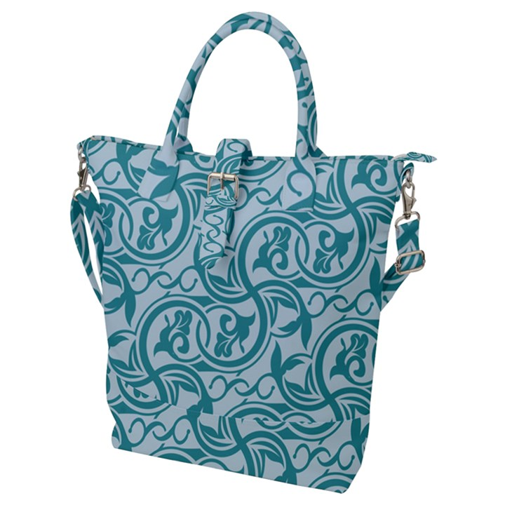 Decorative Blue Floral Pattern Buckle Top Tote Bag