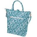 Decorative Blue Floral Pattern Buckle Top Tote Bag View2