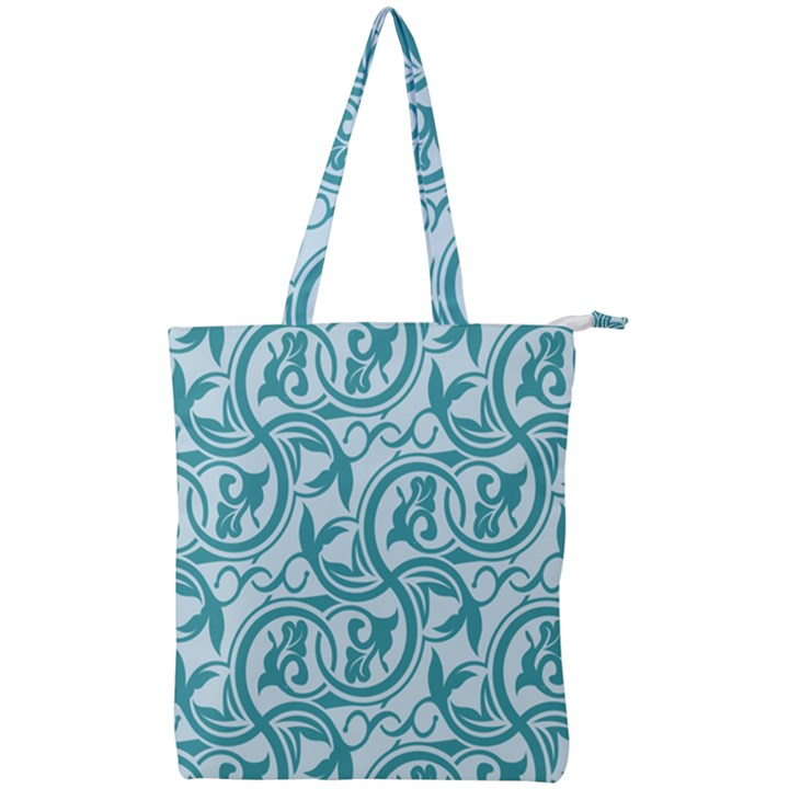 Decorative Blue Floral Pattern Double Zip Up Tote Bag