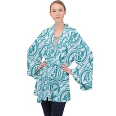 Decorative Blue Floral Pattern Velvet Kimono Robe