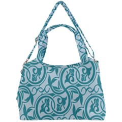 Decorative Blue Floral Pattern Double Compartment Shoulder Bag