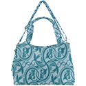 Decorative Blue Floral Pattern Double Compartment Shoulder Bag View1