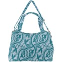 Decorative Blue Floral Pattern Double Compartment Shoulder Bag View2