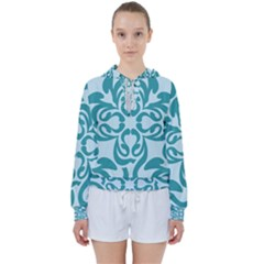 Decorative Blue Floral Pattern Women s Tie Up Sweat by tarastyle
