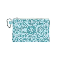 Decorative Blue Floral Pattern Canvas Cosmetic Bag (small) by tarastyle