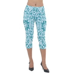 Decorative Blue Floral Pattern Lightweight Velour Capri Leggings  by tarastyle