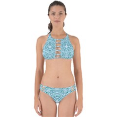 Decorative Blue Floral Pattern Perfectly Cut Out Bikini Set by tarastyle