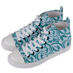 Decorative Blue Floral Pattern Women s Mid Top Canvas Sneakers by tarastyle