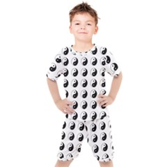Yin Yang Pattern Kids  Tee And Shorts Set by Valentinaart