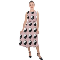 Yin Yang Pattern Midi Tie Back Chiffon Dress by Valentinaart