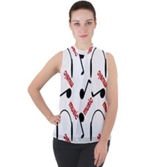 Music Letters Word Headphones Note Mock Neck Chiffon Sleeveless Top by HermanTelo