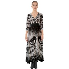 Monster Black White Eyes Button Up Boho Maxi Dress by HermanTelo