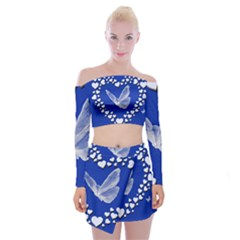 Heart Love Butterfly Mother S Day Off Shoulder Top With Mini Skirt Set