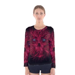 Monster Red Eyes Aggressive Fangs Ghost Women s Long Sleeve Tee