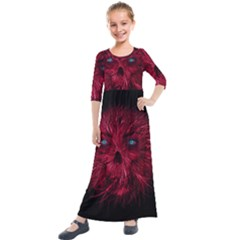 Monster Red Eyes Aggressive Fangs Ghost Kids  Quarter Sleeve Maxi Dress by HermanTelo