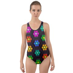 Pattern Background Colorful Design Cut-out Back One Piece Swimsuit