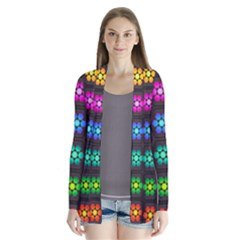 Pattern Background Colorful Design Drape Collar Cardigan