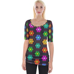 Pattern Background Colorful Design Wide Neckline Tee