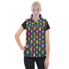 Pattern Background Colorful Design Women s Button Up Vest