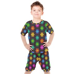 Pattern Background Colorful Design Kids  Tee And Shorts Set
