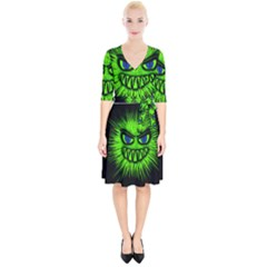 Monster Green Evil Common Wrap Up Cocktail Dress