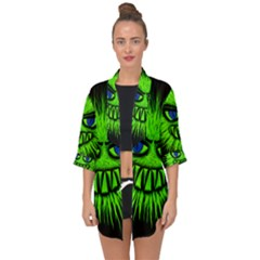 Monster Green Evil Common Open Front Chiffon Kimono by HermanTelo