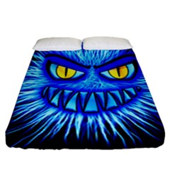 Monster Blue Attack Fitted Sheet (queen Size)