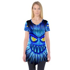 Monster Blue Attack Short Sleeve Tunic  by HermanTelo
