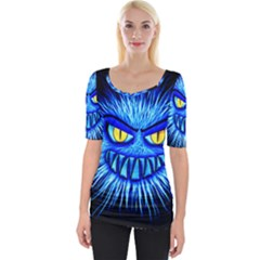 Monster Blue Attack Wide Neckline Tee by HermanTelo
