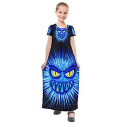 Monster Blue Attack Kids  Short Sleeve Maxi Dress by HermanTelo