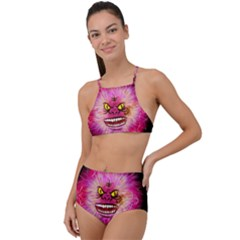 Monster Pink Eyes Aggressive Fangs High Waist Tankini Set
