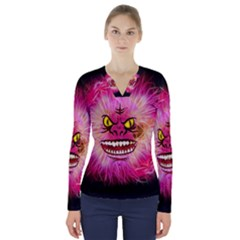 Monster Pink Eyes Aggressive Fangs V Neck Long Sleeve Top