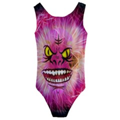 Monster Pink Eyes Aggressive Fangs Kids  Cut Out Back One Piece Swimsuit