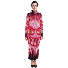 Monster Red Eyes Aggressive Fangs Turtleneck Maxi Dress by HermanTelo