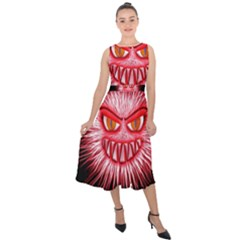 Monster Red Eyes Aggressive Fangs Midi Tie-back Chiffon Dress