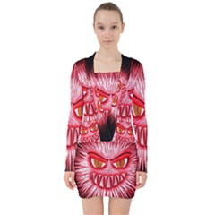 Monster Red Eyes Aggressive Fangs V Neck Bodycon Long Sleeve Dress